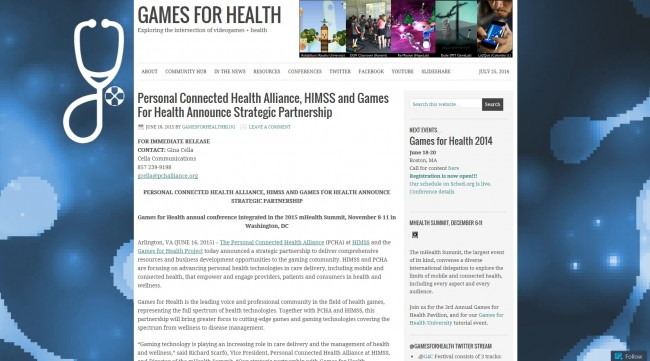 ▲ 출처: Games for Health