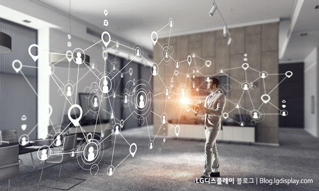 Businessman in office interior and social net connection 3D illustration