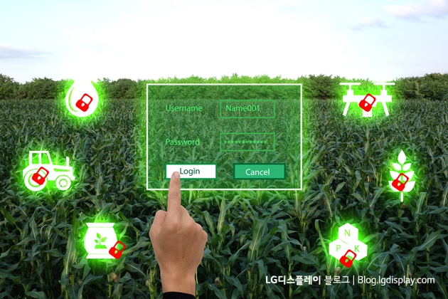 nternet of things(agriculture concept),smart farming,industrial agriculture.Farmer use the finger to put log in to the system for control,management and monitor the field with augmenter reality panel